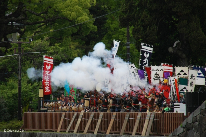 Japanese warriors firing muskets at Odawara Hojo Godai Festival