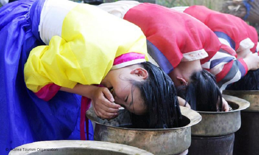 Women washing hair at Gangneung Danoje Festival