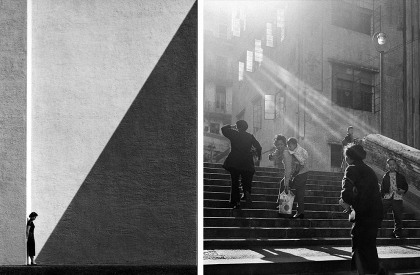 Left: woman against large wallRight: pedestrians climbing stairs