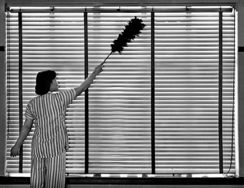 Cleaning woman dusting venetian blinds
