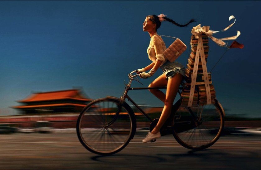 Woman on bicycle in China