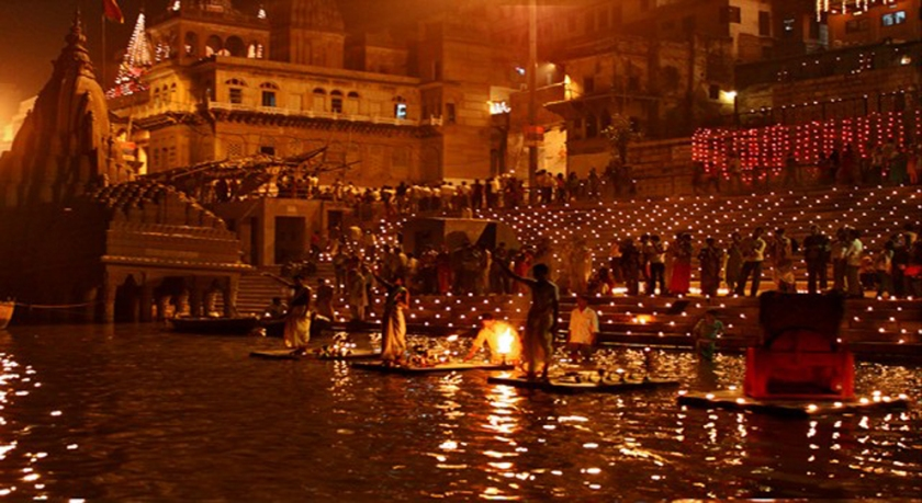 Candles lit on Ganges during Diwali
