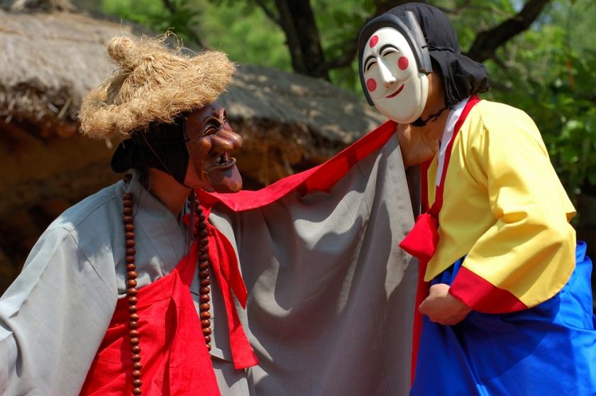 Masked dancers at the Andong Mask Festival, Korea