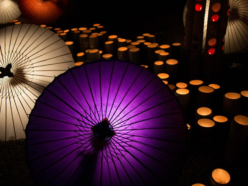 Japanese umbrellas and lanterns at night