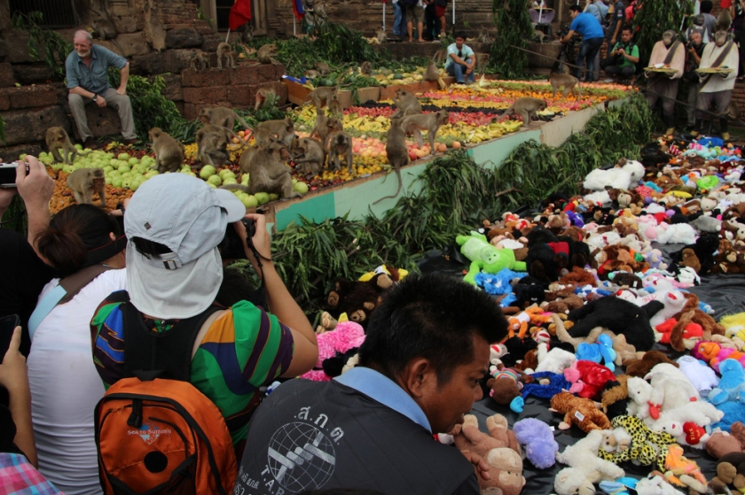 Crowds photographing the monkeys at the Lopburi Monkey Banquet Festival