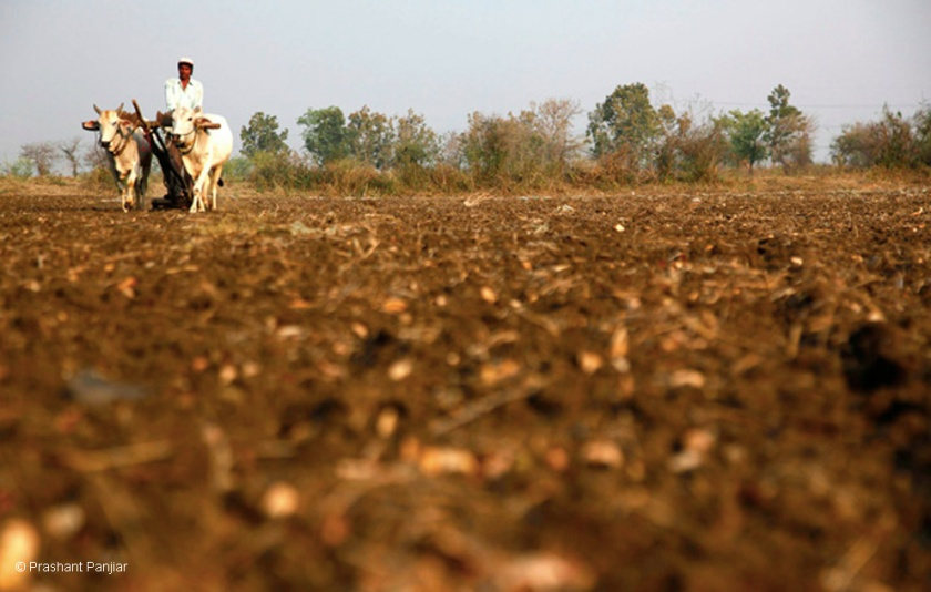 A farmer plows his field before the start of the sowing season.