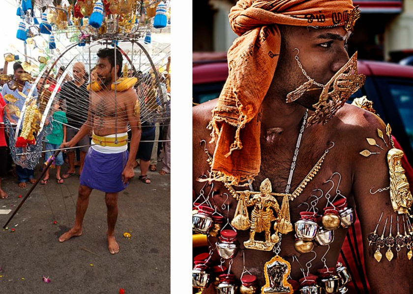 Skewered devotees at Thaipusam